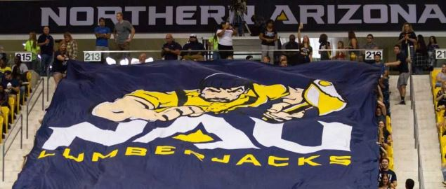 Northern Arizona Lumberjacks fans and banner at the Skydome on the campus of NAU.